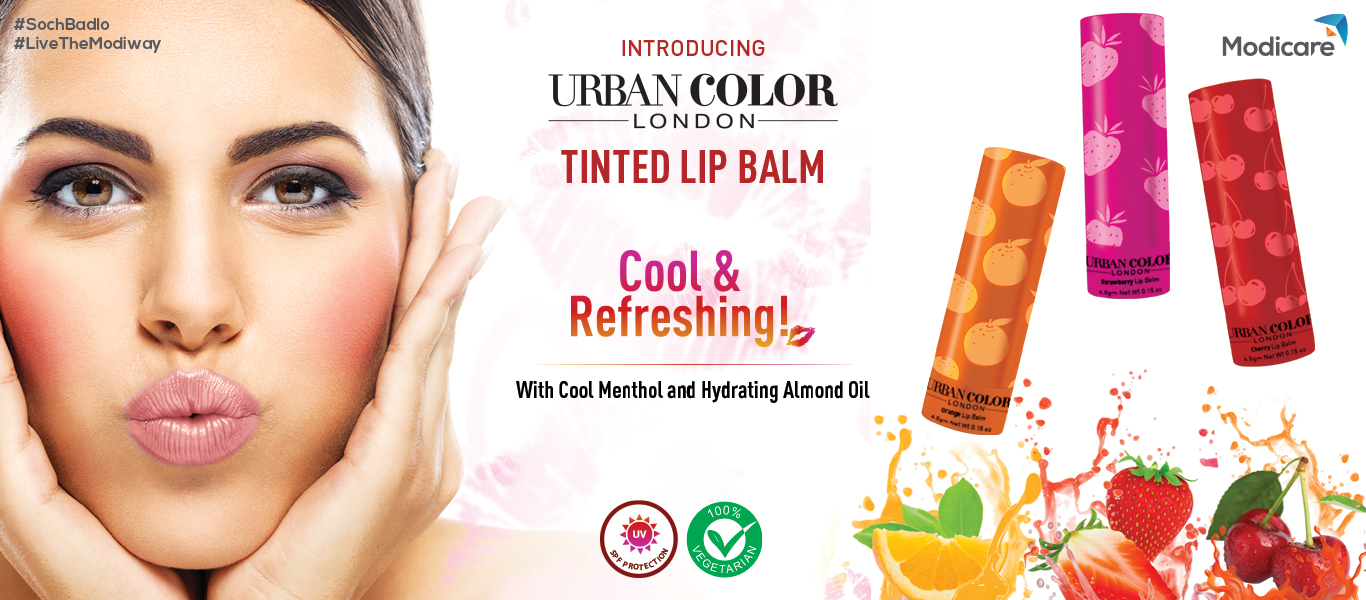 URBAN COLOR LONDON | TINTED LIP BALM - Cool & Refreshing! With Cool Menthol and Hydrating Almond Oil